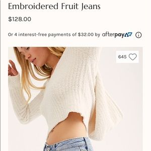 Free People Embroidered Fruit Jeans NEW WITH TAGS